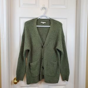 Olive green knit oversized long button cardigan XS